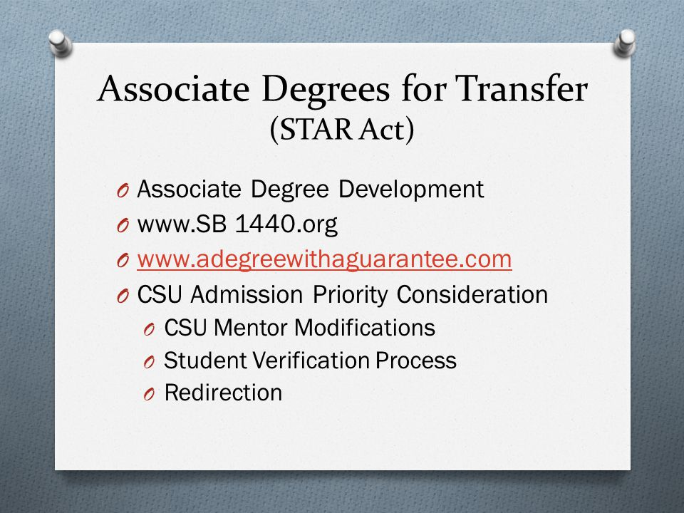 Associate Degrees for Transfer (STAR Act)