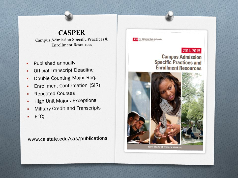 CASPER Campus Admission Specific Practices & Enrollment Resources