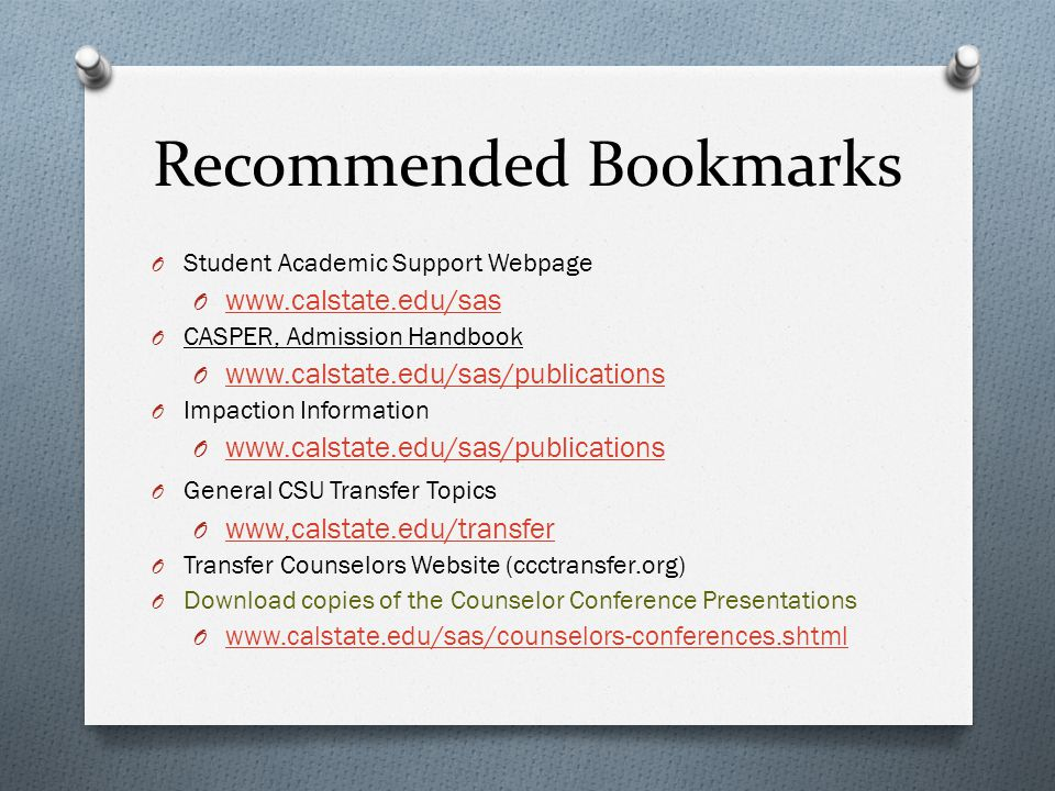Recommended Bookmarks