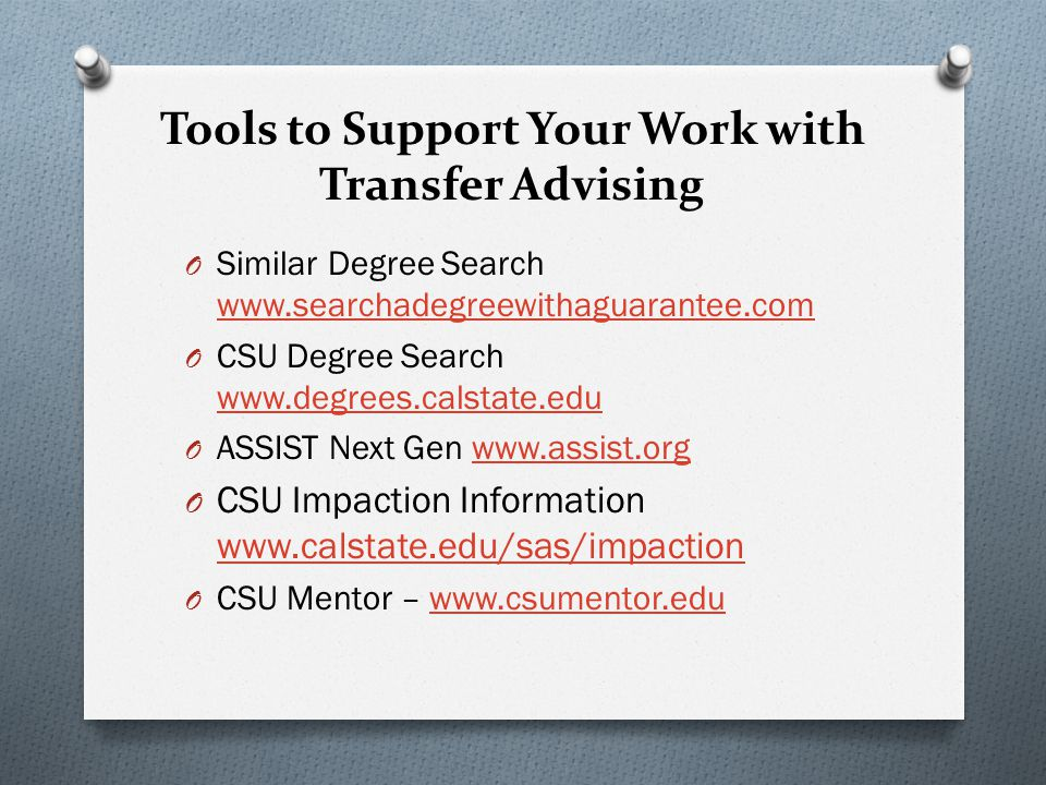 Tools to Support Your Work with Transfer Advising