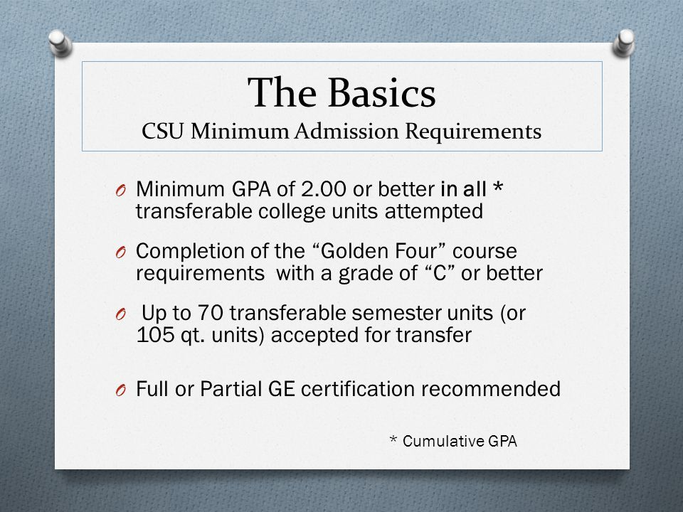 The Basics CSU Minimum Admission Requirements