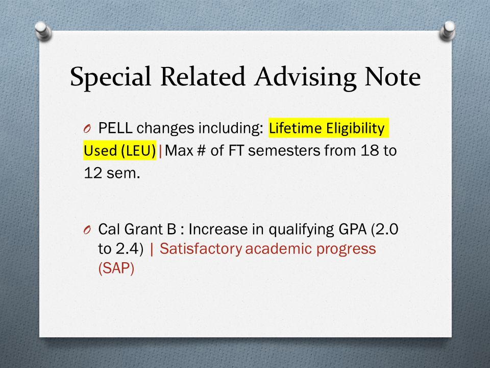 Special Related Advising Note