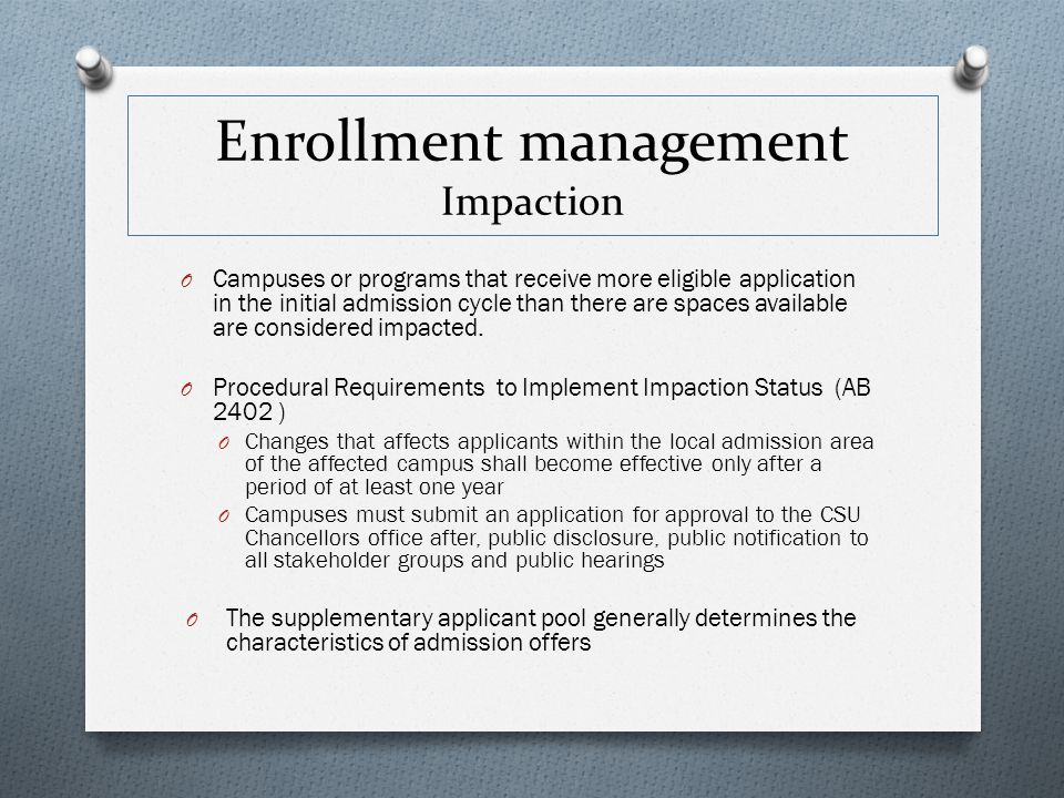 Enrollment management Impaction