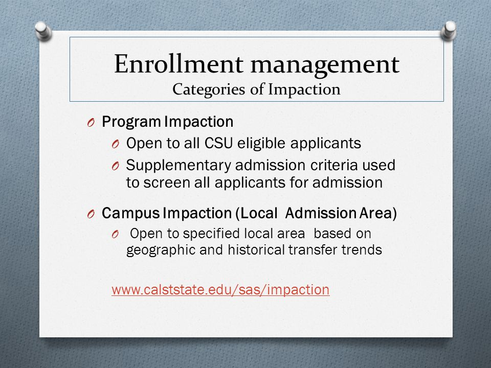 Enrollment management Categories of Impaction