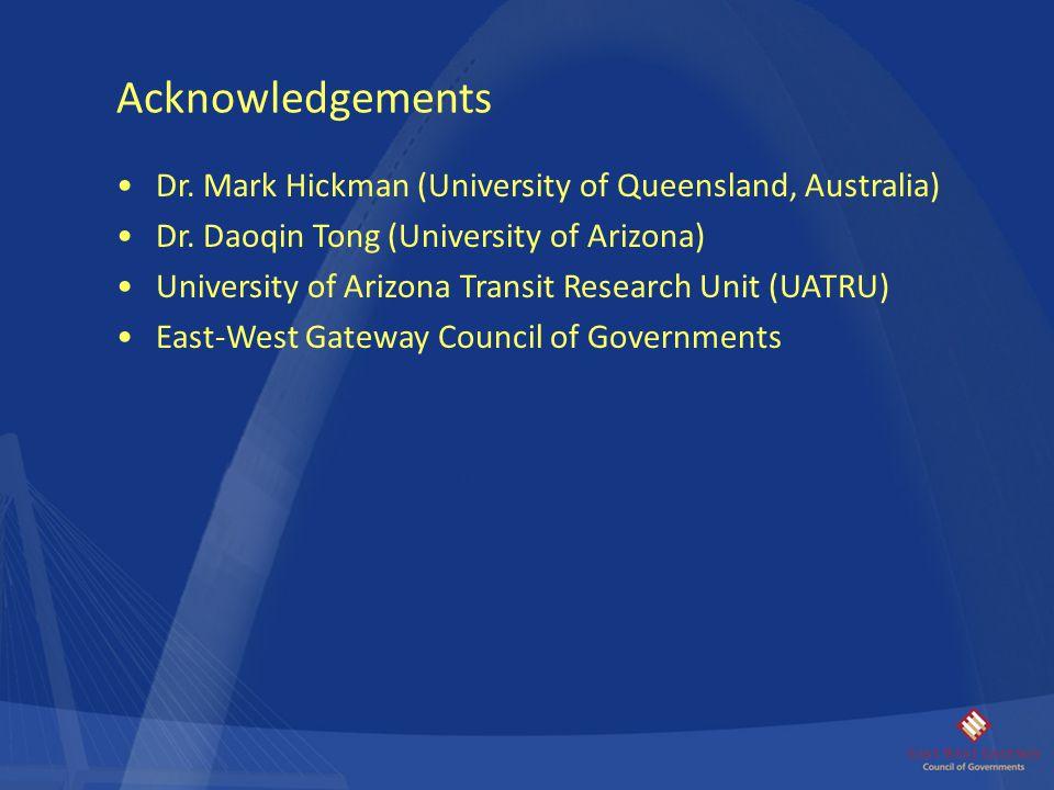 Acknowledgements Dr. Mark Hickman (University of Queensland, Australia) Dr. Daoqin Tong (University of Arizona)