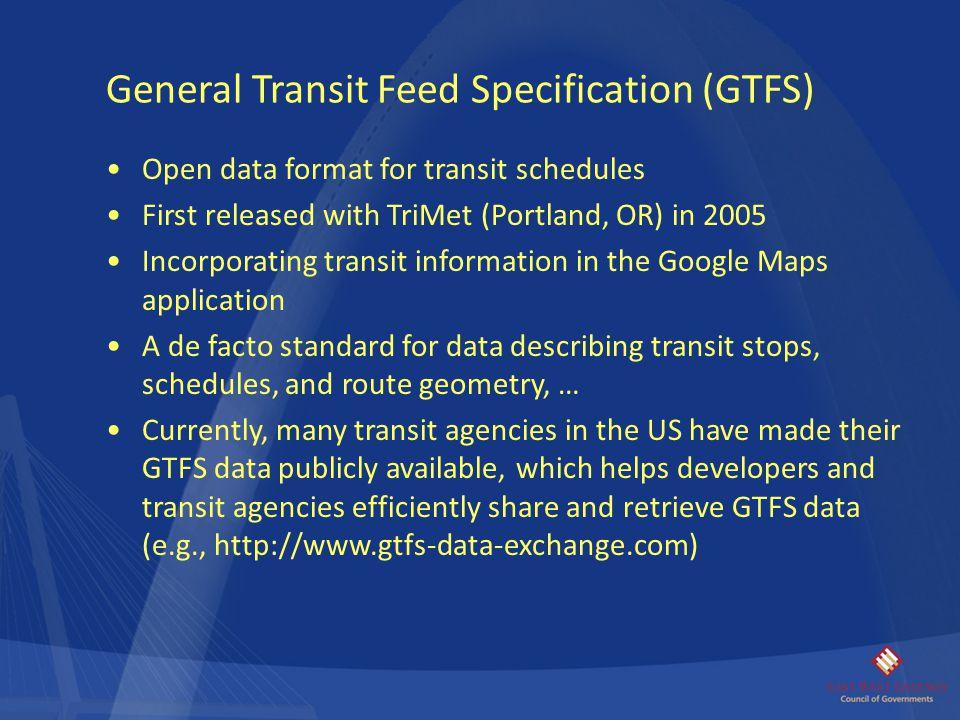 General Transit Feed Specification (GTFS)