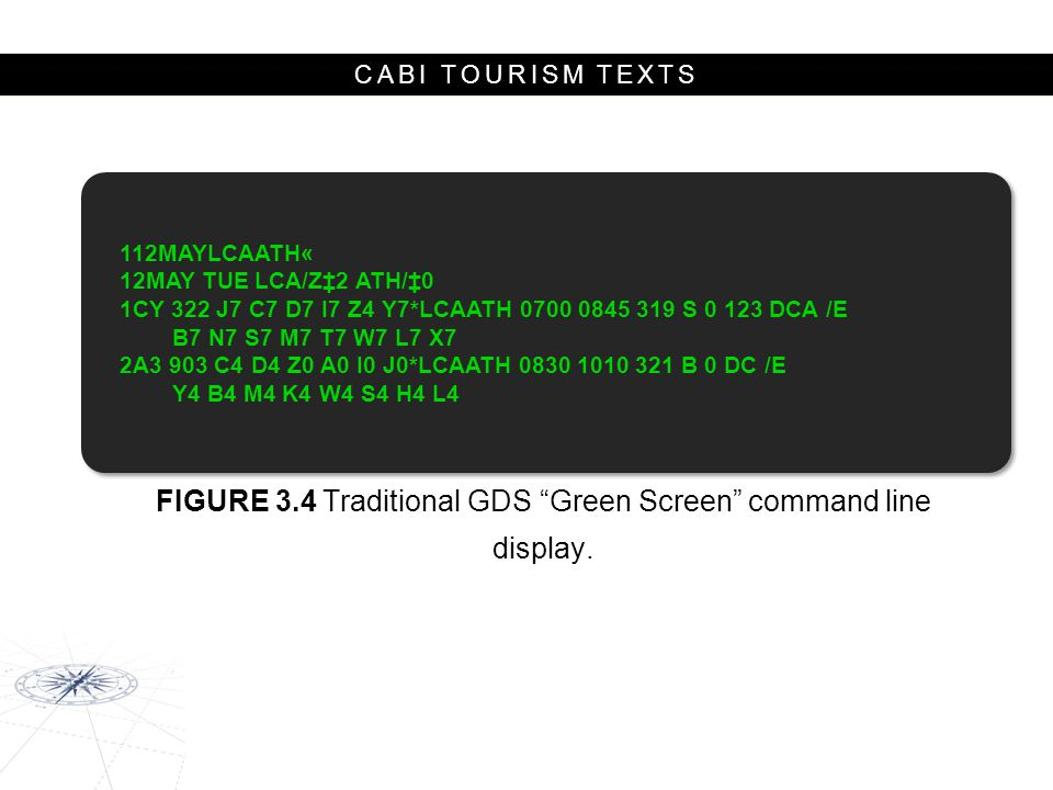 FIGURE 3.4 Traditional GDS Green Screen command line display.