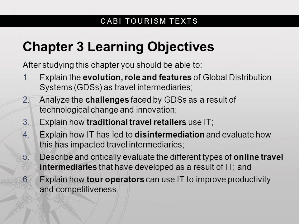 Chapter 3 Learning Objectives