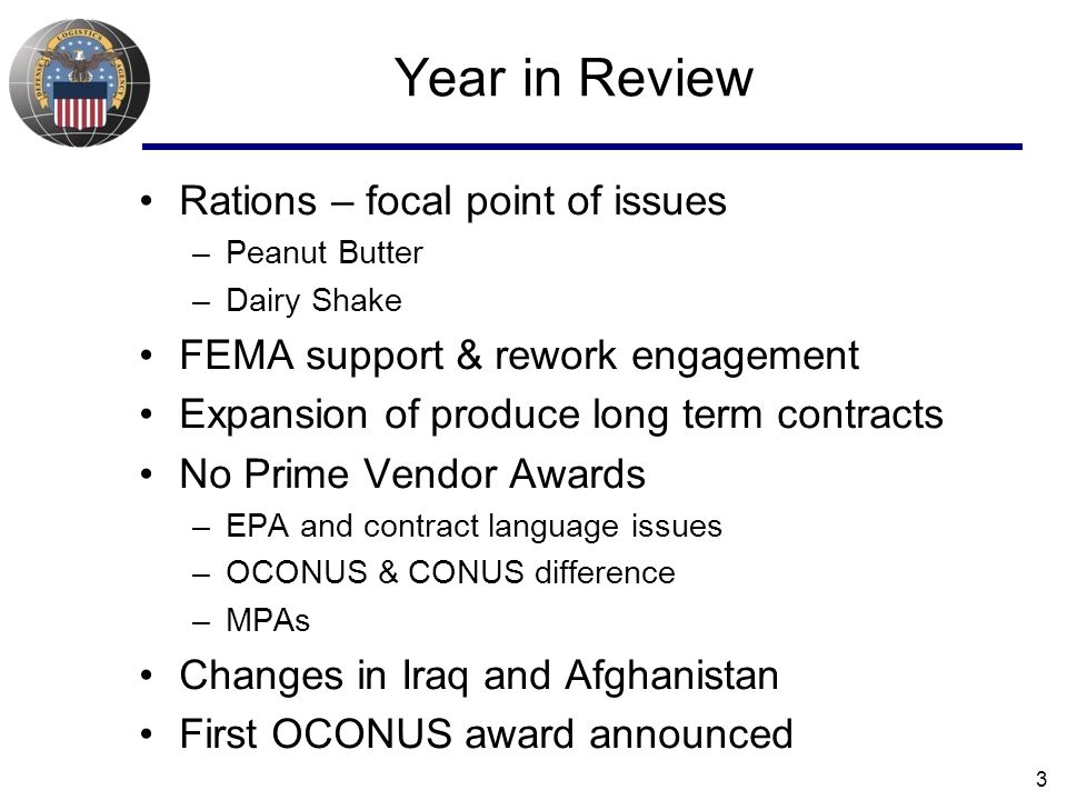 Year in Review Rations – focal point of issues