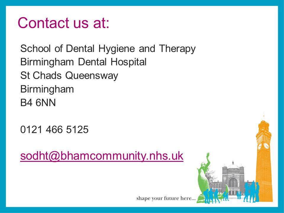 Contact us at: sodht@bhamcommunity.nhs.uk