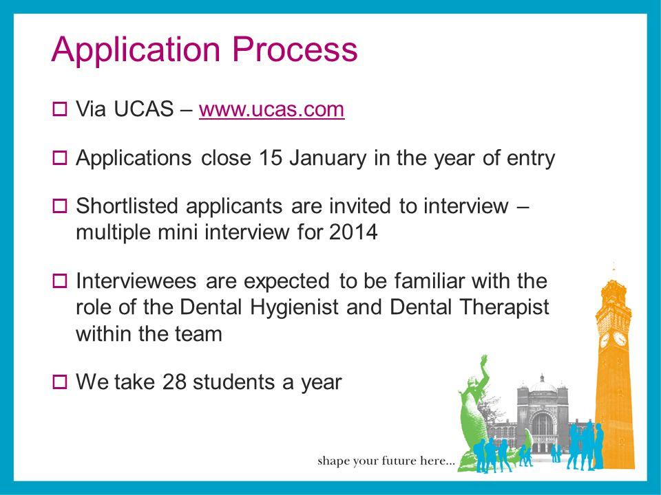 Application Process Via UCAS – www.ucas.com