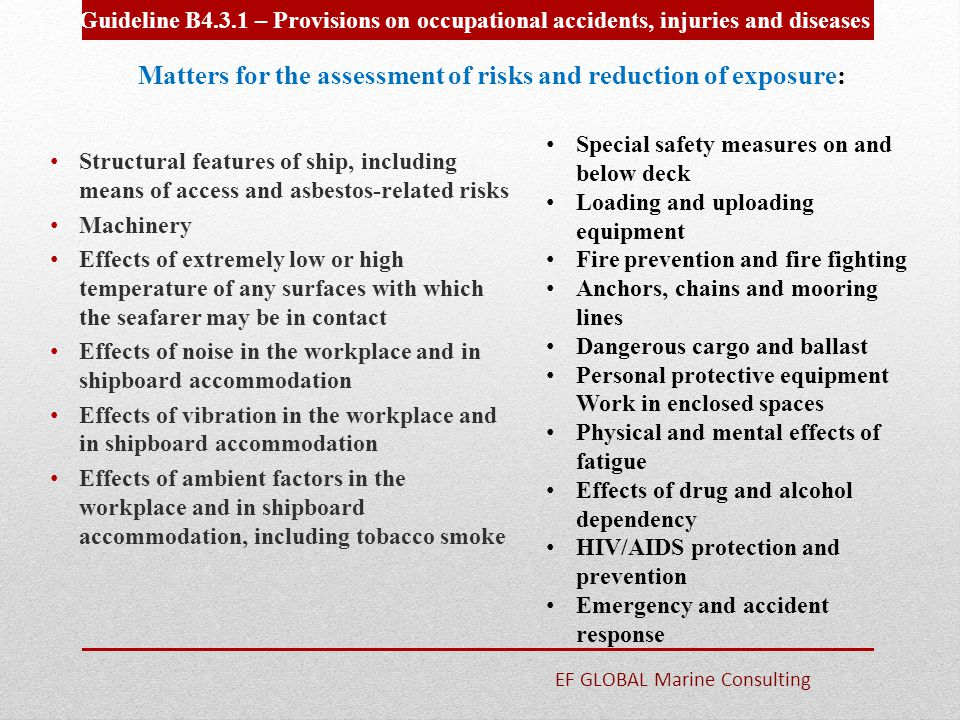 Matters for the assessment of risks and reduction of exposure: