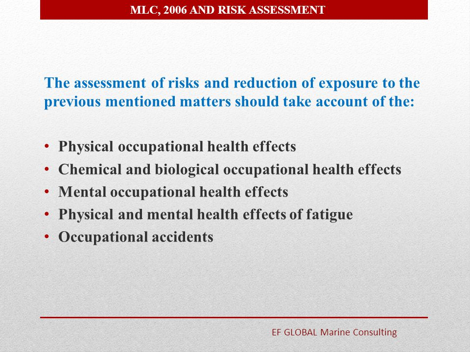 Physical occupational health effects