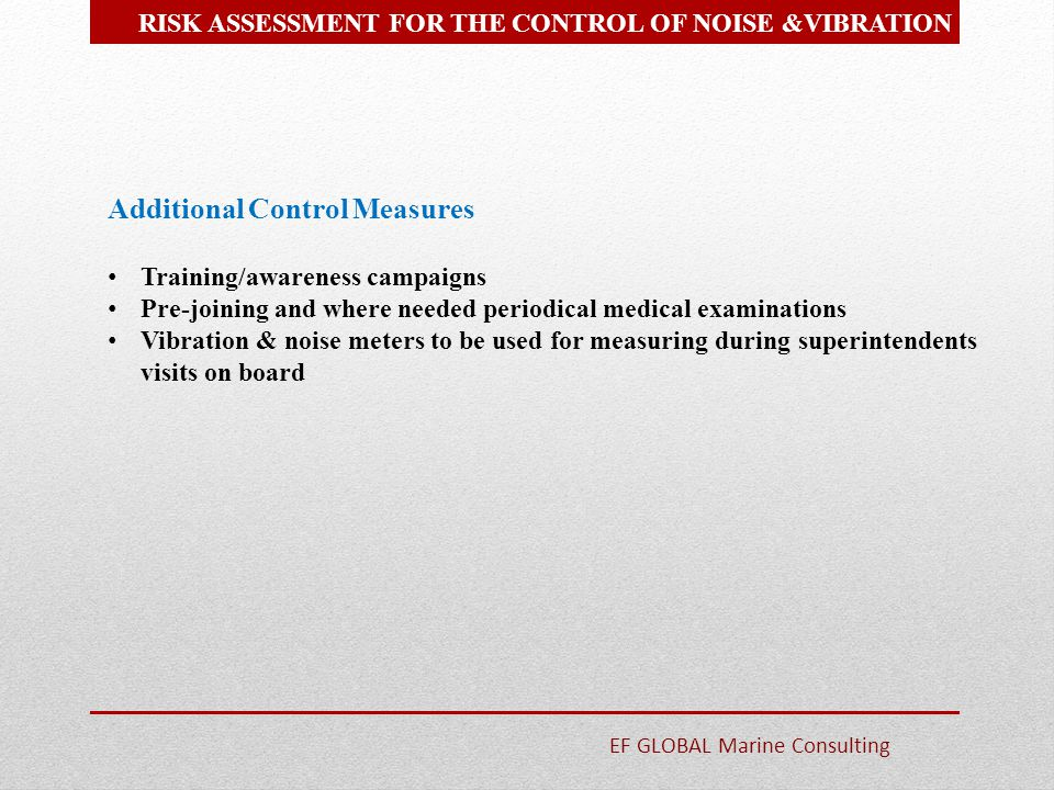 Additional Control Measures