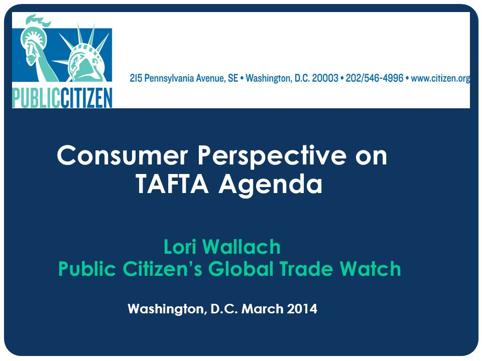 Consumer Perspective on TAFTA Agenda
