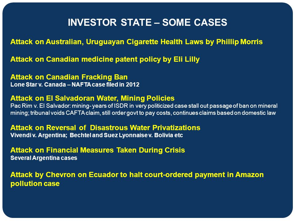 INVESTOR STATE – SOME CASES