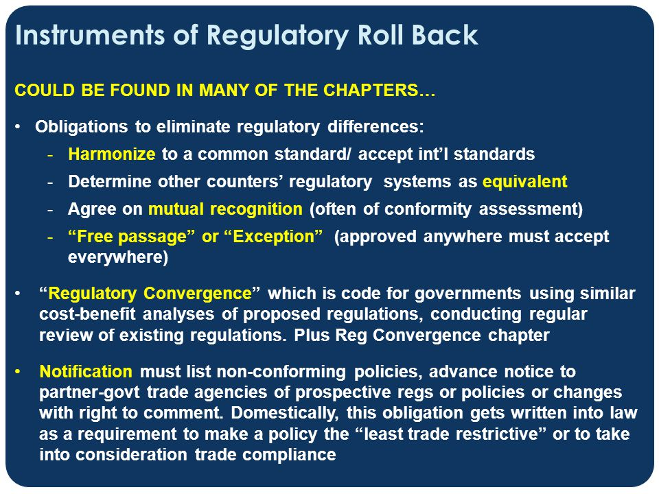 Instruments of Regulatory Roll Back