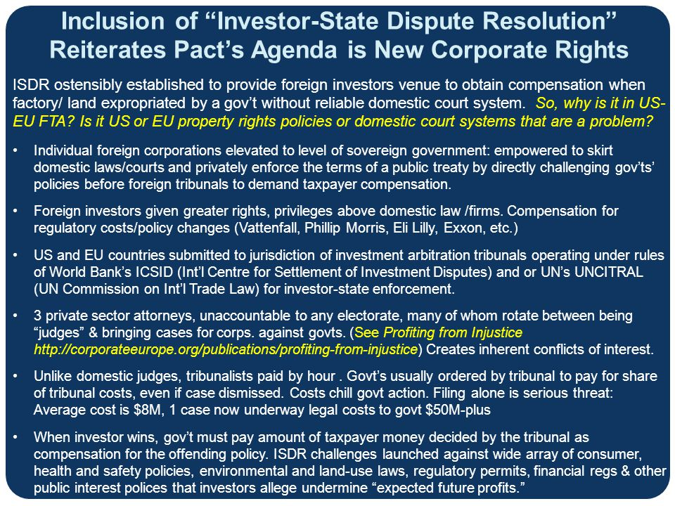 Inclusion of Investor-State Dispute Resolution Reiterates Pact's Agenda is New Corporate Rights