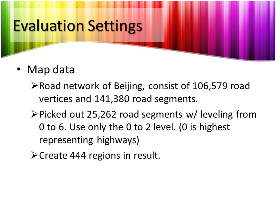 Evaluation Settings Map data