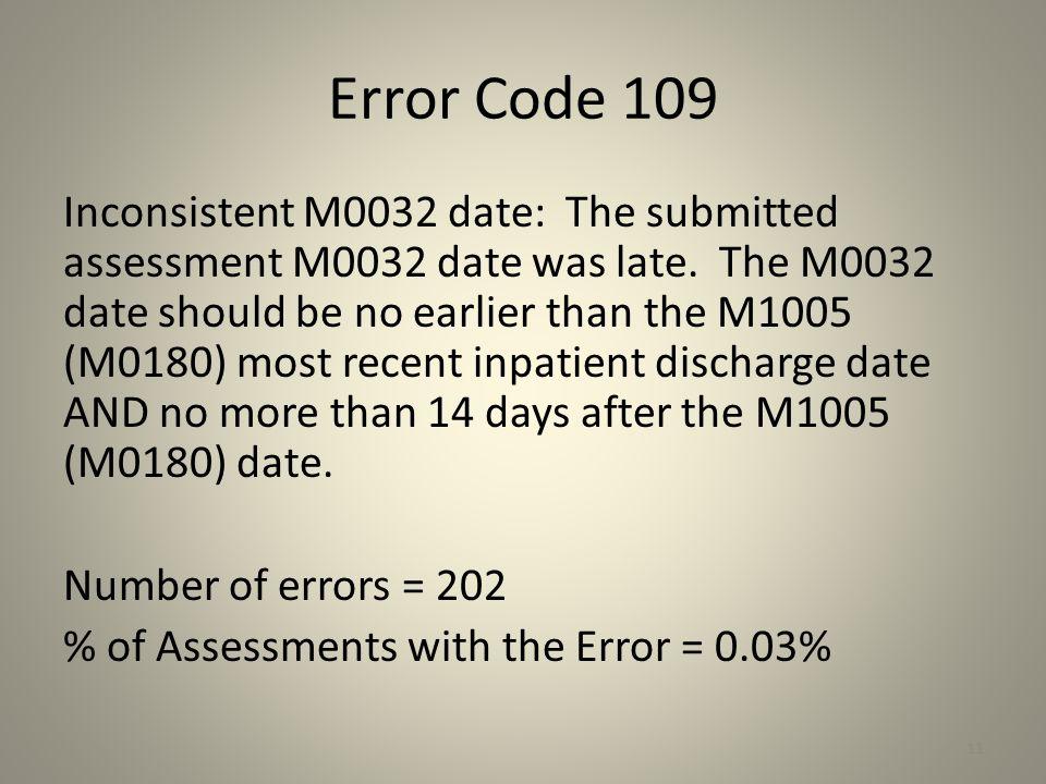 Error Code 109