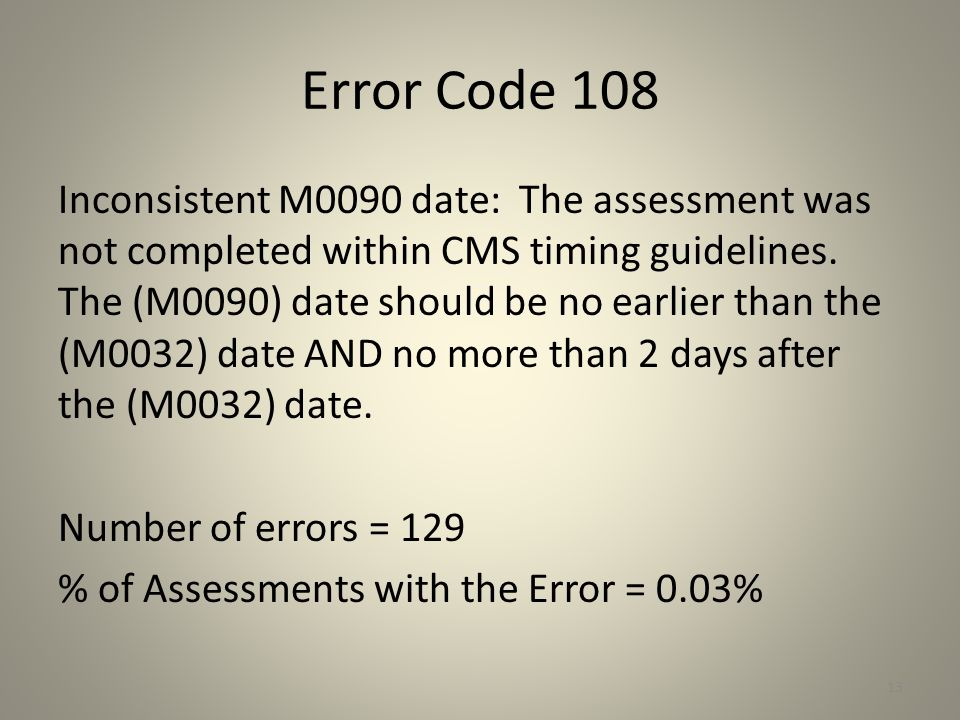 Error Code 108
