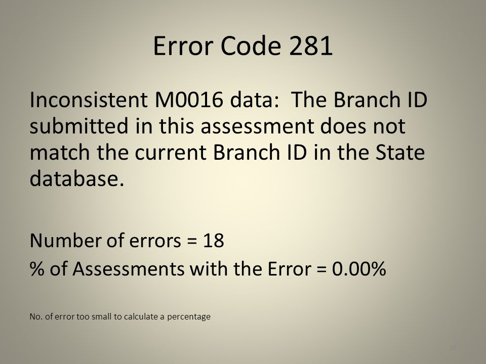 Error Code 281 Inconsistent M0016 data: The Branch ID submitted in this assessment does not match the current Branch ID in the State database.