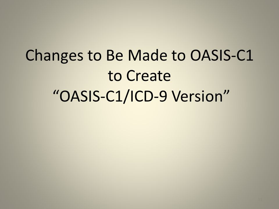 Changes to Be Made to OASIS-C1 to Create OASIS-C1/ICD-9 Version