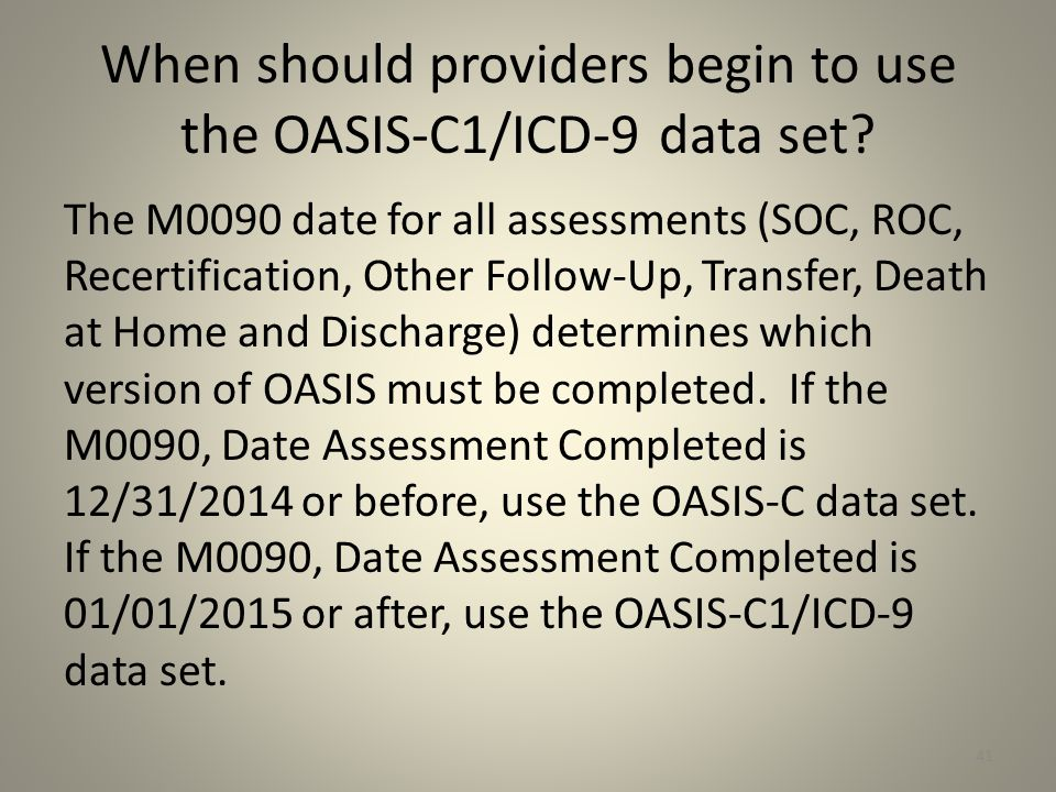 When should providers begin to use the OASIS-C1/ICD-9 data set