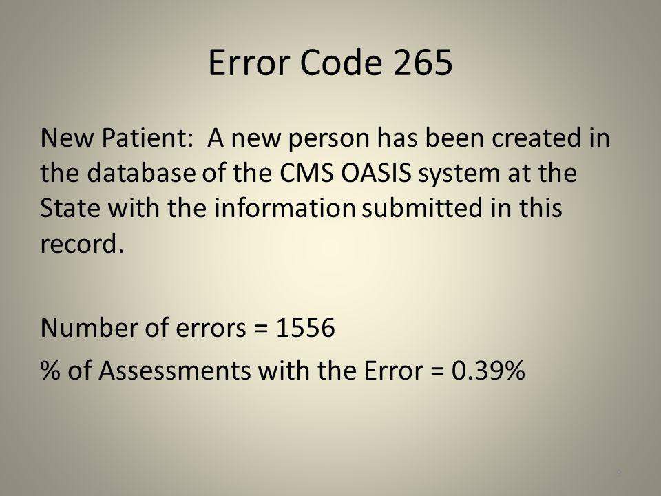 Error Code 265