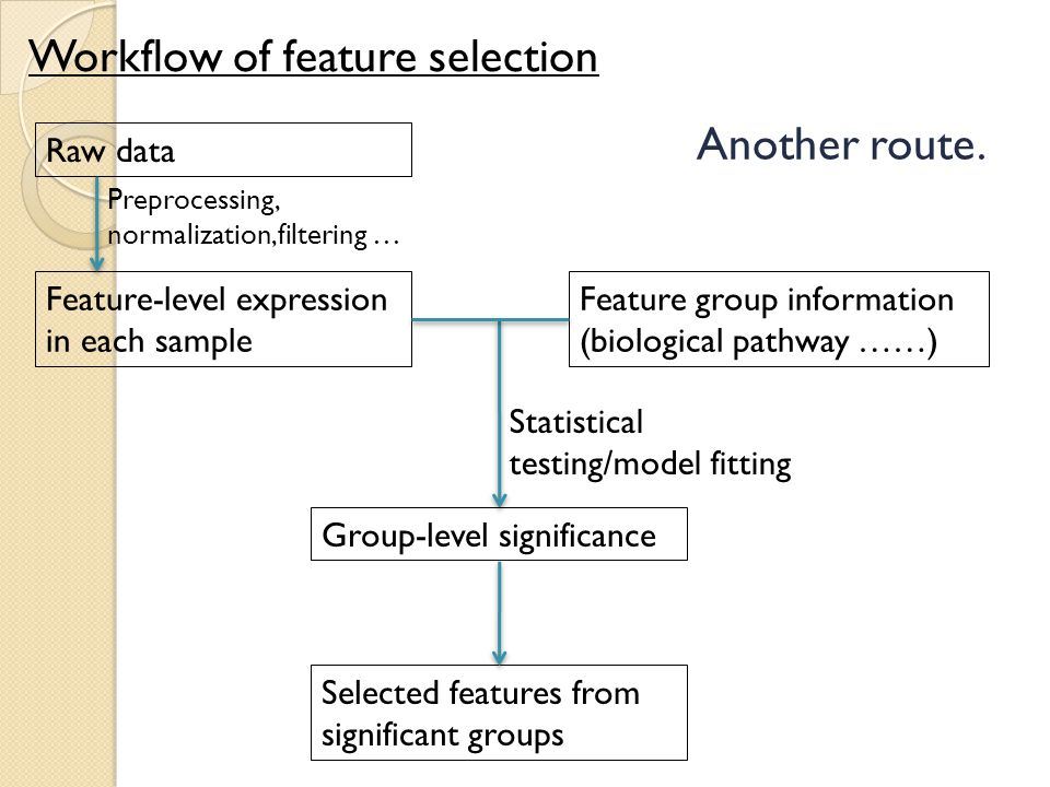 Workflow of feature selection