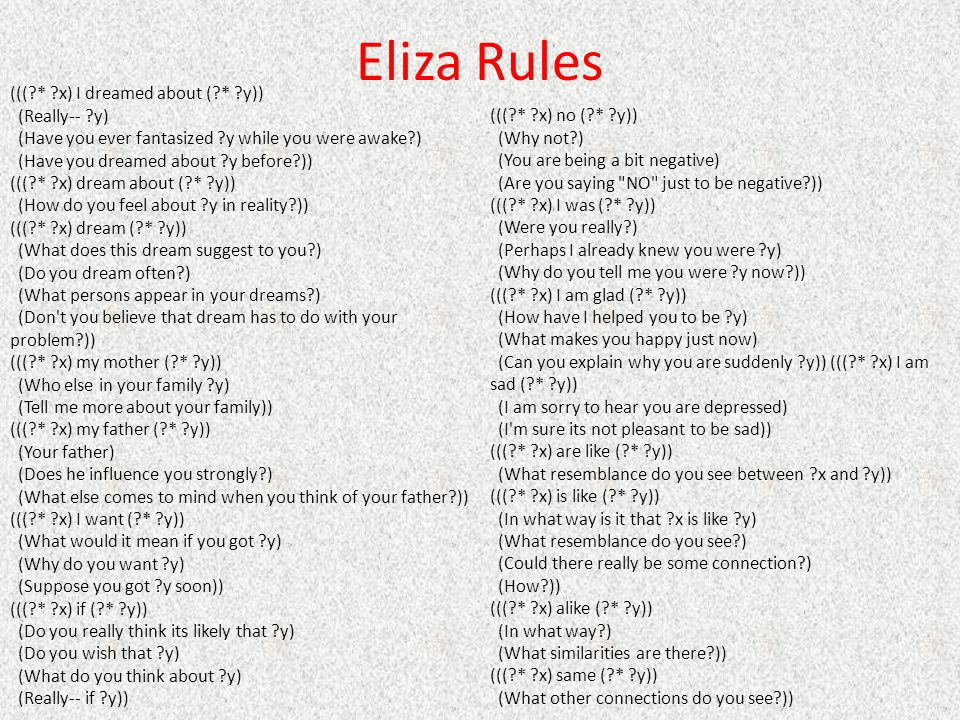 Eliza Rules ((( * x) I dreamed about ( * y)) (Really-- y)