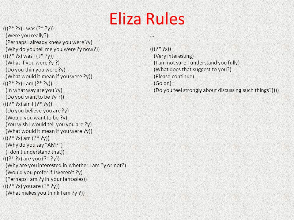 Eliza Rules ((( * x) I was ( * y)) (Were you really )
