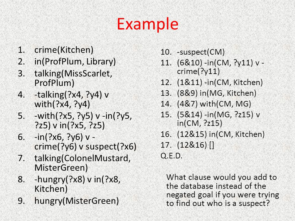 Example crime(Kitchen) in(ProfPlum, Library)