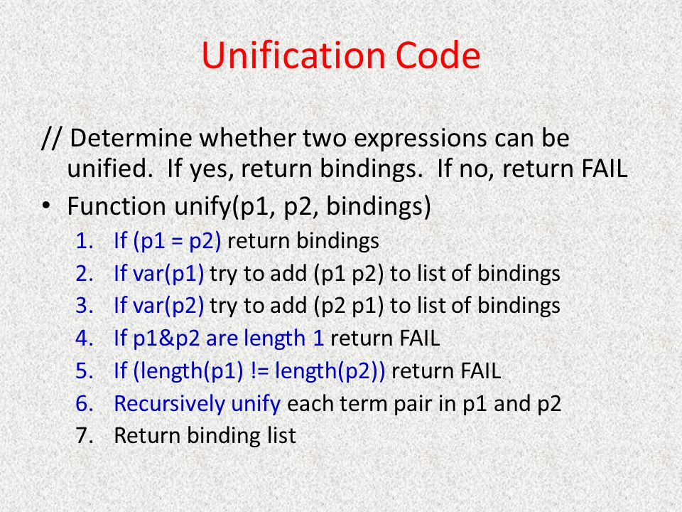 Unification Code // Determine whether two expressions can be unified. If yes, return bindings. If no, return FAIL.