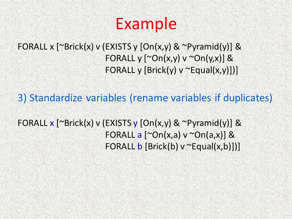 Example 3) Standardize variables (rename variables if duplicates)