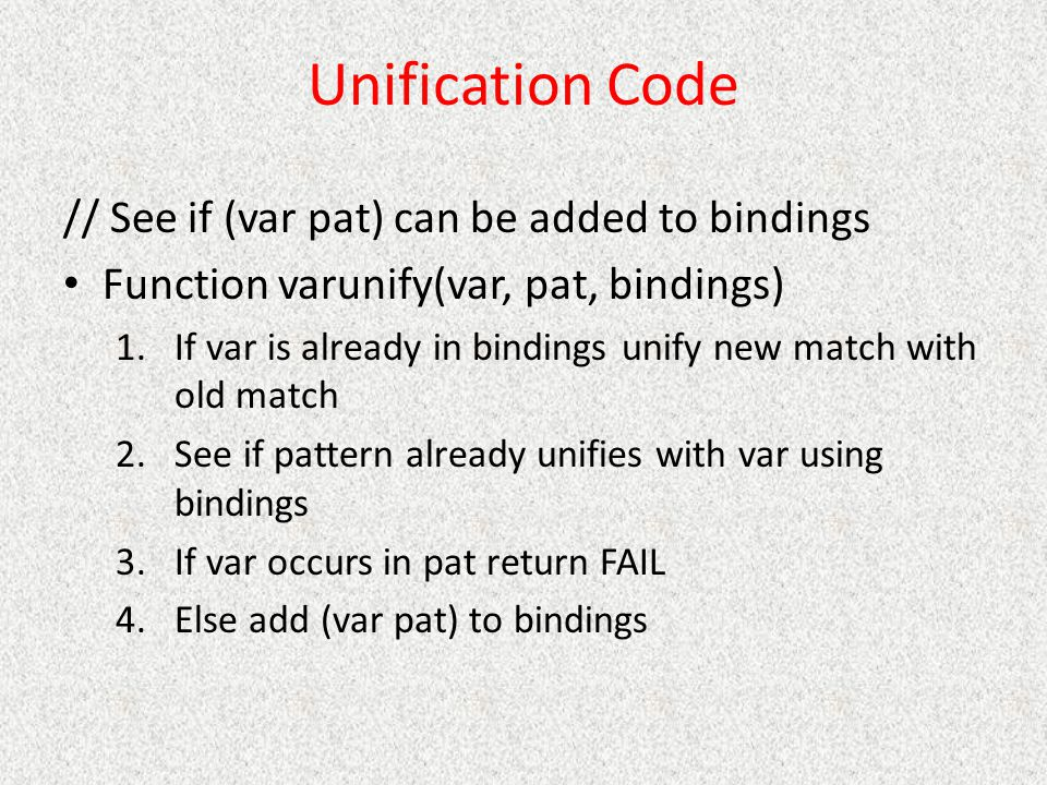 Unification Code // See if (var pat) can be added to bindings