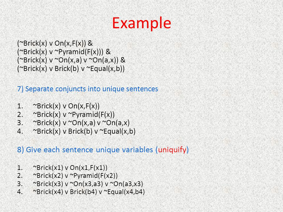 Example 8) Give each sentence unique variables (uniquify)