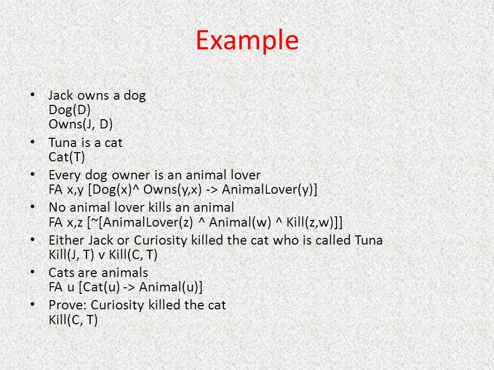 Example Jack owns a dog Dog(D) Owns(J, D) Tuna is a cat Cat(T)