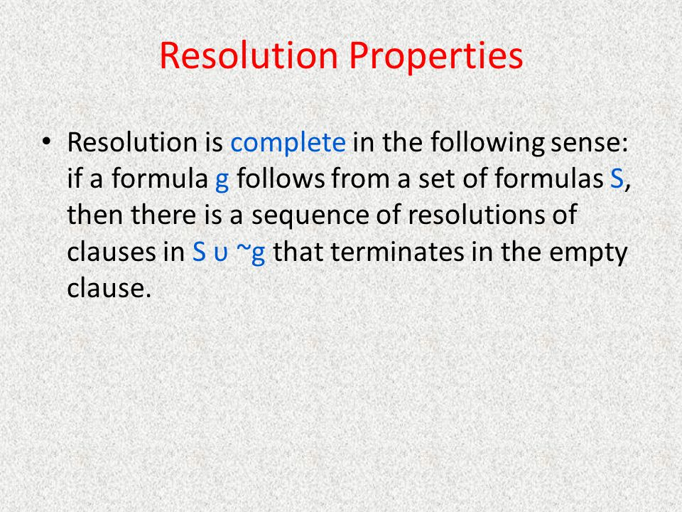 Resolution Properties