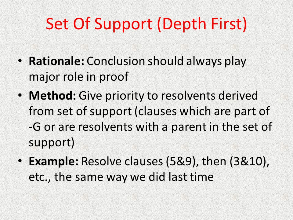 Set Of Support (Depth First)
