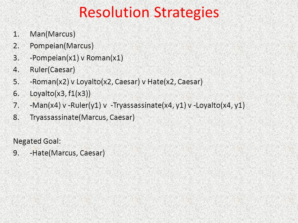 Resolution Strategies