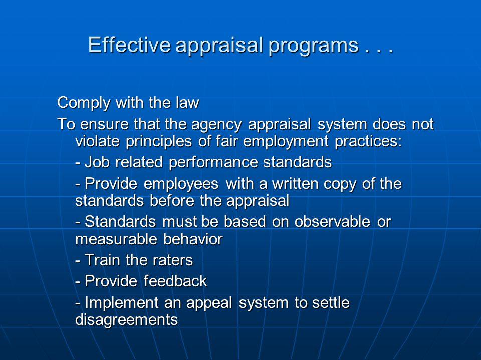 Effective appraisal programs . . .