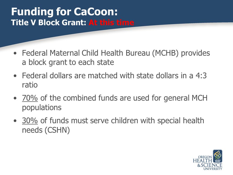 Funding for CaCoon: Title V Block Grant: At this time