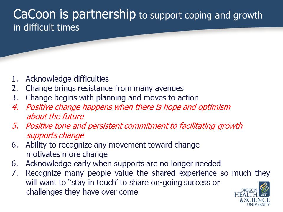 CaCoon is partnership to support coping and growth in difficult times
