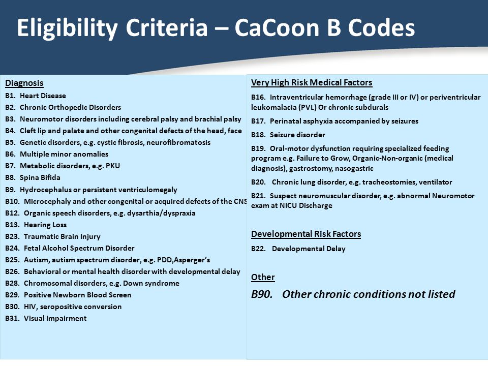 Eligibility Criteria – CaCoon B Codes
