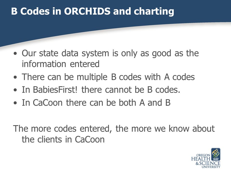 B Codes in ORCHIDS and charting
