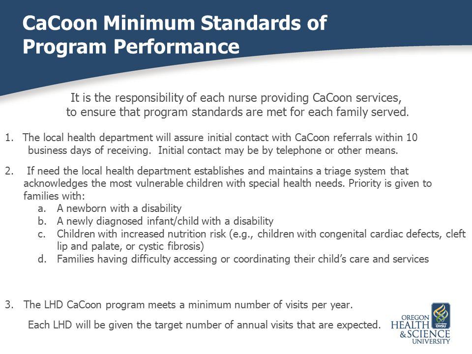 CaCoon Minimum Standards of Program Performance