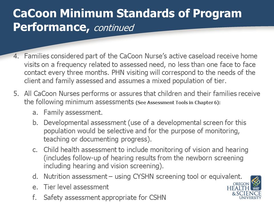 CaCoon Minimum Standards of Program Performance, continued