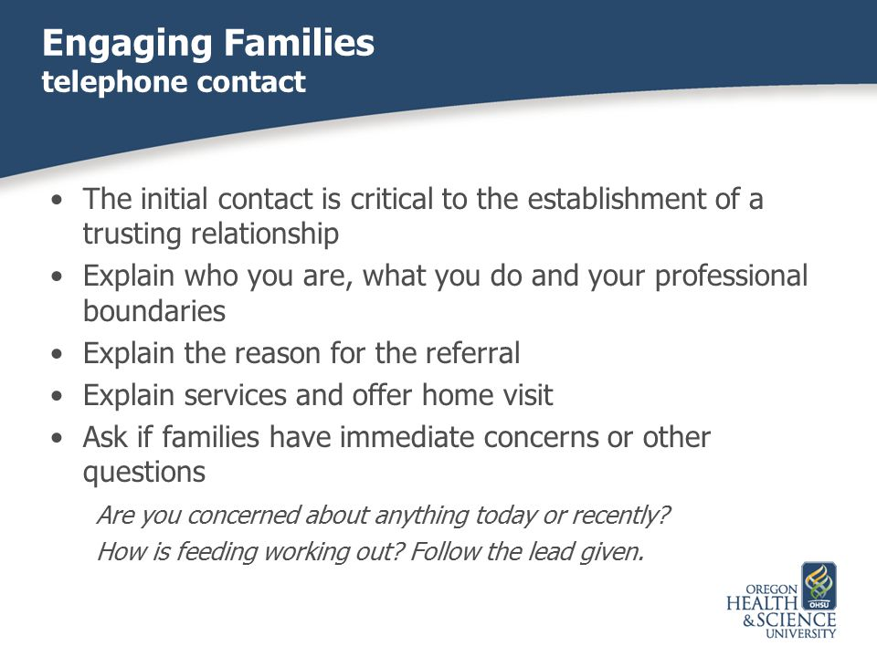 Engaging Families telephone contact