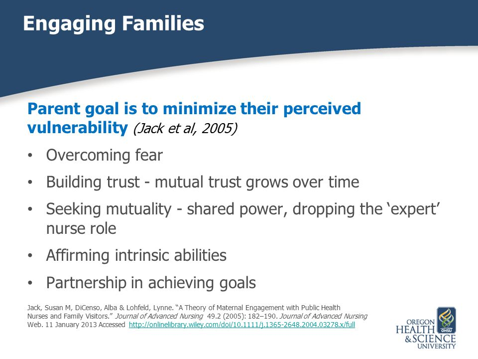 Engaging Families Parent goal is to minimize their perceived vulnerability (Jack et al, 2005) Overcoming fear.